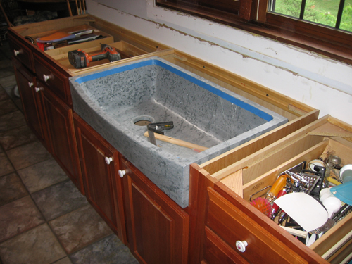 The sink being fitted into the cabinet