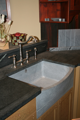 Unoiled sink with oiled countertops