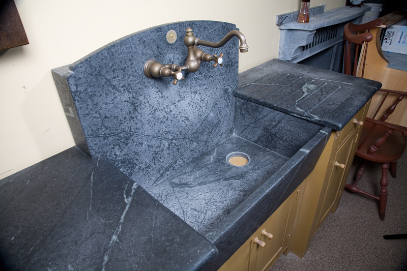 Soapstone Sink : High Backsplash Sink with Slant Front, Boxed out back, offset drain ...