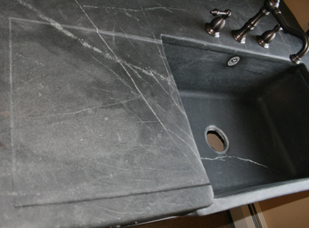 Why Stone Sink In Water : Recessed drain board carved into soapstone countertops