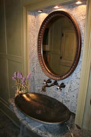 Elliptical Sink Rose Bathroom