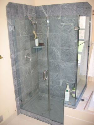 shower pan and tiles