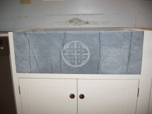 Block sink with Celtic Knot carving