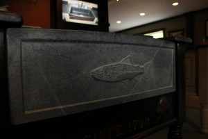 Block sink with custom fish carving