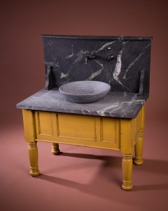 Mustard vanity with vessel and high splash