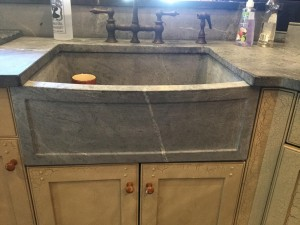 Block sink with recessed panel